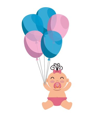 cute little baby girl with balloons helium vector illustration design 일러스트