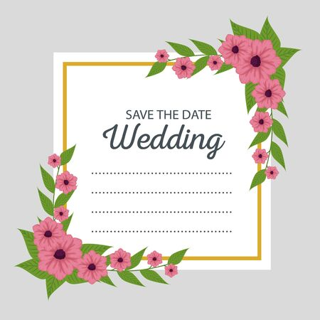 wedding card decoration with flowers leaves design vector illustration