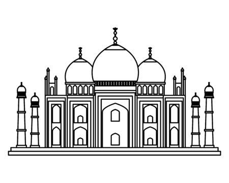 taj mahal indian building icon vector illustration design
