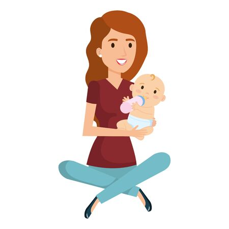 mother lifting little baby character vector illustration design