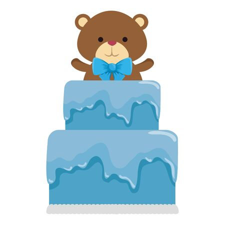 cutte little bear teddy with bowtie in cake vector illustration design