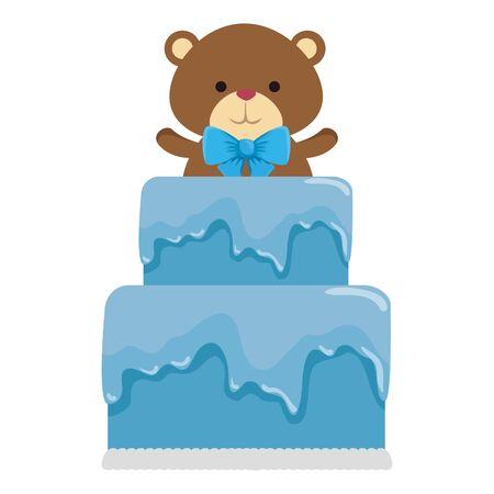 Mignon petit ours en peluche avec noeud papillon dans la conception d'illustration vectorielle gâteau
