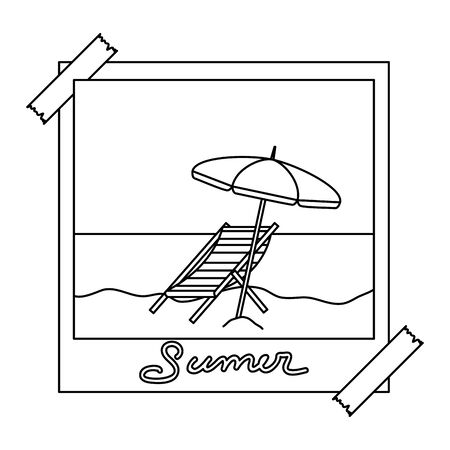 photo snapshot with summer beach and umbrella chair vector illustration design