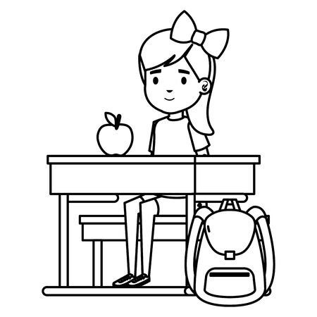 student girl seated in school desk with apple and bag vector illustration design