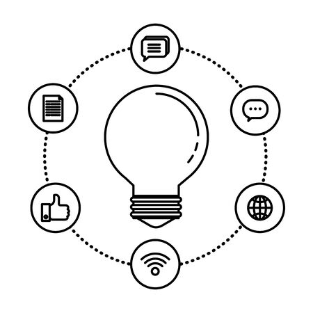 bulb idea think with social media icons vector illustration design