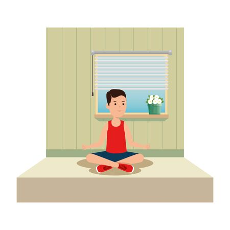 happy athletic boy practicing yoga in the gym vector illustration design