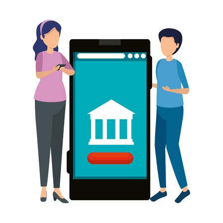 young couple using smartphone with bank building vector illustration design