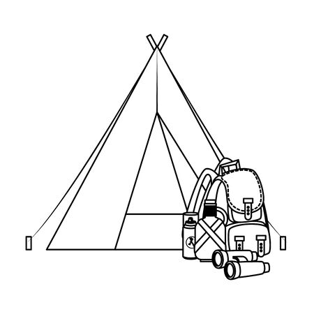 tent camping with travelbag and accessories vector illustration design