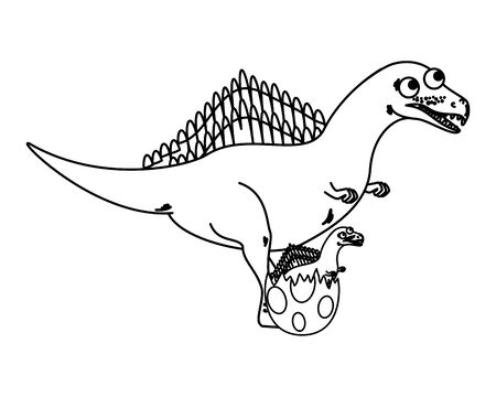 mother spinosaurus with baby breaking the shell egg vector illustration