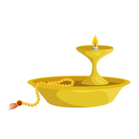 ramadan kareem dish with candle decorative vector illustration design