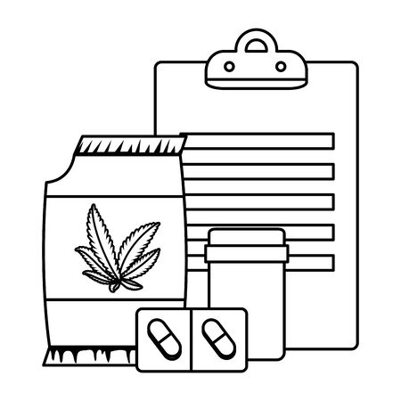 checklist and cannabis bottles products vector illustration design Ilustracja