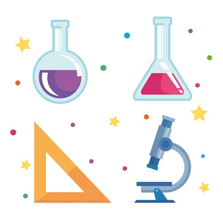 set of erlenmeyer flask with triangle ruler and microscope over white background vector illustration