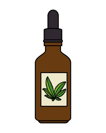 bottle dropper with cannabis extract product vector illustration design