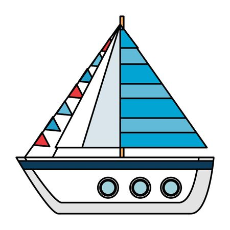 ship sailboat summer isolated icon vector illustration design