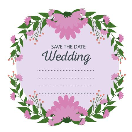 wedding card with flowers plants and leaves to event vector illustration