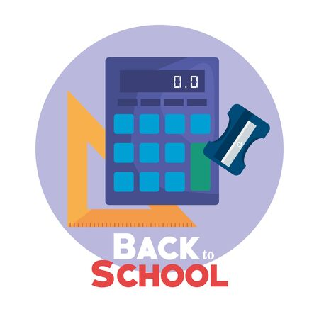 calculator with triangle ruler and sharpener supplies to back to school vector illustration 向量圖像