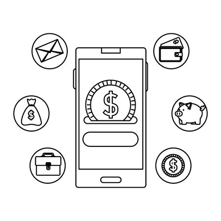 smartphone with coin money dollar and ecommerce icons vector illustration design Vettoriali