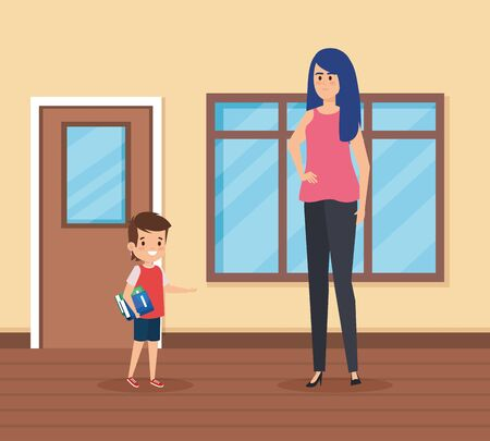 female teacher with student boy in the school scene vector illustration design Çizim