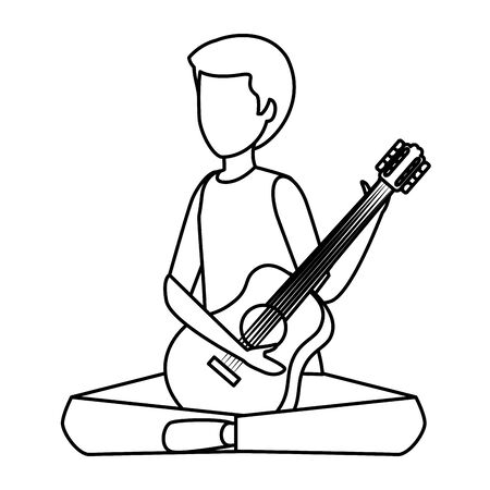 young man playing guitar instrument vector illustration design Stok Fotoğraf - 127188518