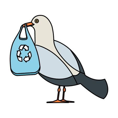 seagull with plastic bag and arrows recycle vector illustration design Stock Vector - 127154030