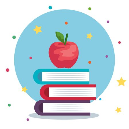 books with apple fruit and stars with points to back to school vector illustration