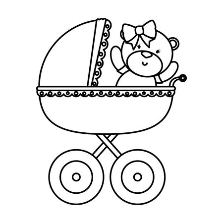 little bear teddy in baby cart vector illustration design