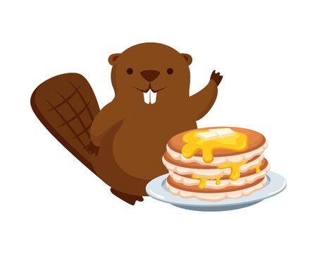 cute beaver mascot with sweet pancakes vector illustration design Illustration