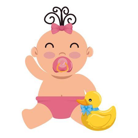 cute little baby girl with ducky vector illustration design Standard-Bild - 127156338