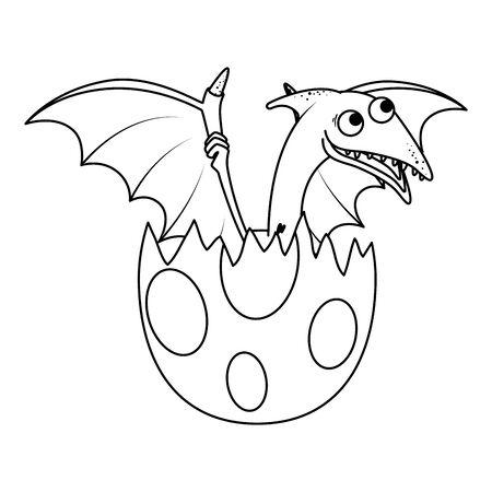 cute newborn Pterodactyl breaking shell vector illustration design