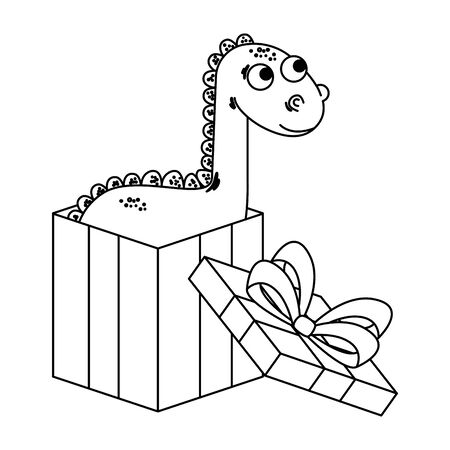cute diplodocus in giftbox present vector illustration design Illustration