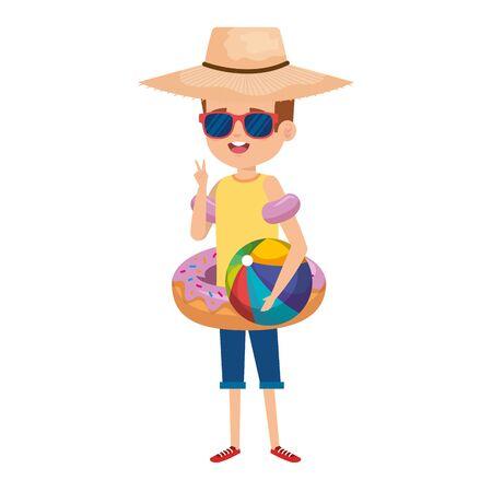 cute little boy with donut float and beach balloon vector illustration design Illustration