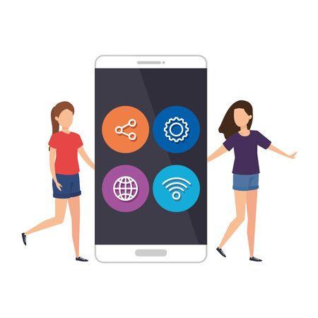 young women with smartphone and social media menu vector illustration