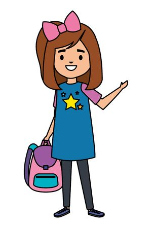happy student girl with school bag vector illustration design