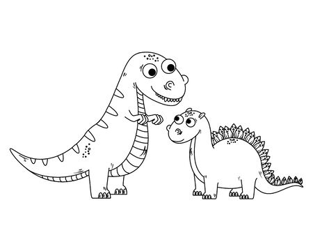 cute tyrannosaurus and diplodocus characters vector illustration design 일러스트