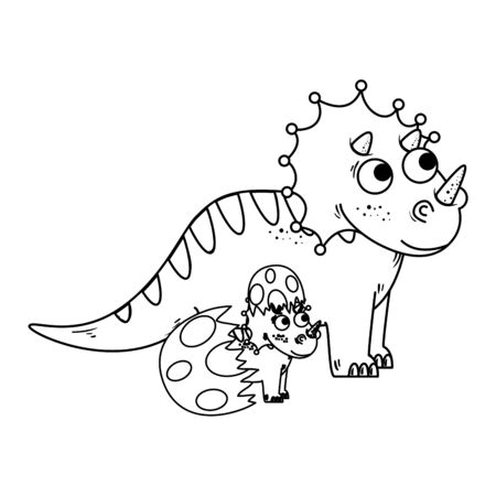 mother triceratops with baby breaking the shell egg vector illustration design