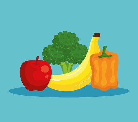 fresh apple with banana and broccoli with pepper to healthy food vector illustration Ilustração