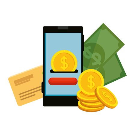 smartphone with coin money dollar and credit card vector illustration design