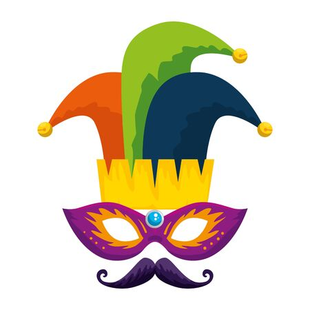 carnival mask with joker hat and mustache vector illustration design