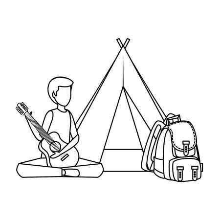 young man playing guitar with camping tent and travelbag vector illustration 向量圖像