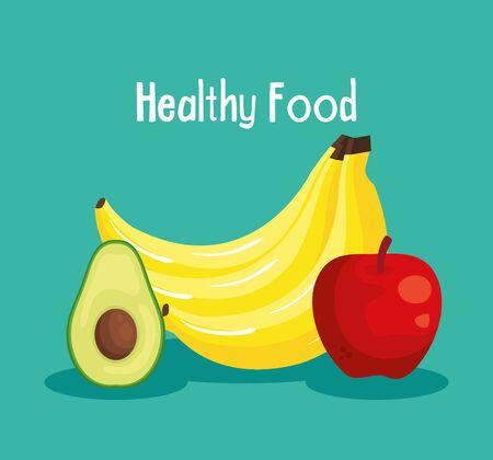 frische Avocado mit Bananen und Apfelfrüchten zu gesunder Lebensmittelvektorillustration Vektorgrafik