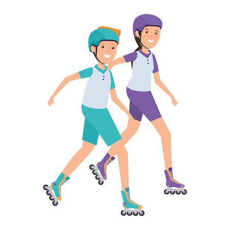happy athletic couple in skates vector illustration design