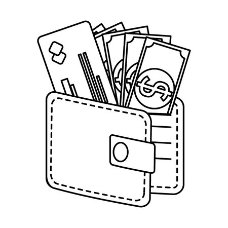 wallet money with credit card and bills dollars vector illustration design Illustration