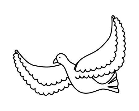 weiße Taube fliegender Vogel-Symbol-Vektor-Illustration-Design Vektorgrafik