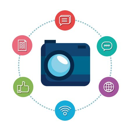 camera photographic with social media icons vector illustration design Imagens - 127216077