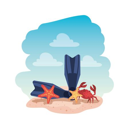 summer flip flops and crab with starfish vector illustration design Illustration