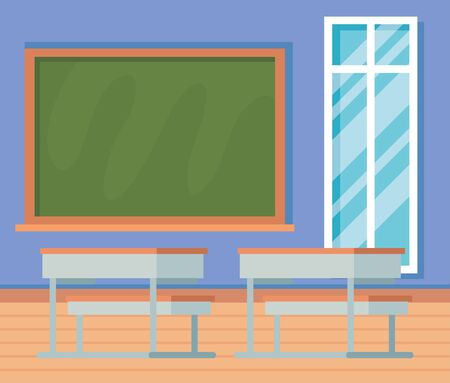 academic classroom with desks and blackboard with window to school education Illustration