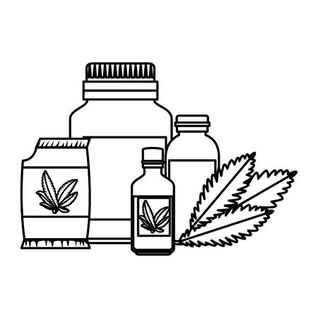 cannabis seeds bag with set products vector illustration design