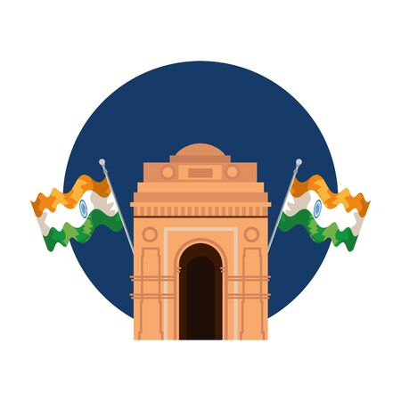 indian gate arch monument with flags vector illustration design Ilustração