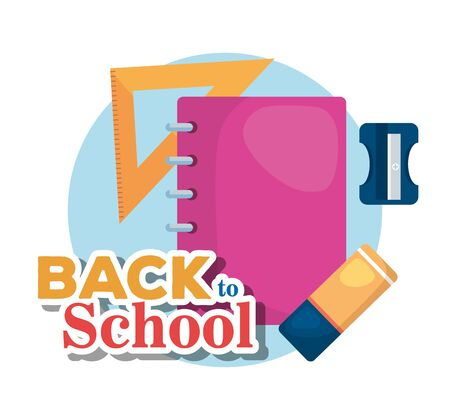 notebook with triangle ruler and sharpener with eraser to back to school vector illustration  イラスト・ベクター素材