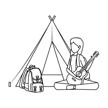 woman playing guitar with camping tent and travelbag vector illustration design 向量圖像